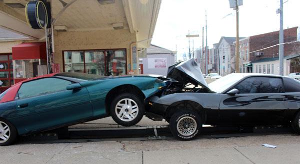 Car collision art experiment at Garage Bar