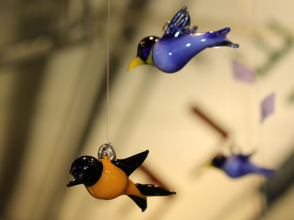 Hummingbird glass ornaments
