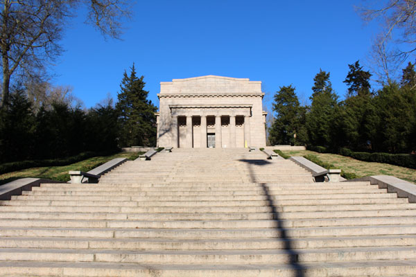 Steps up to Lincoln Memorial